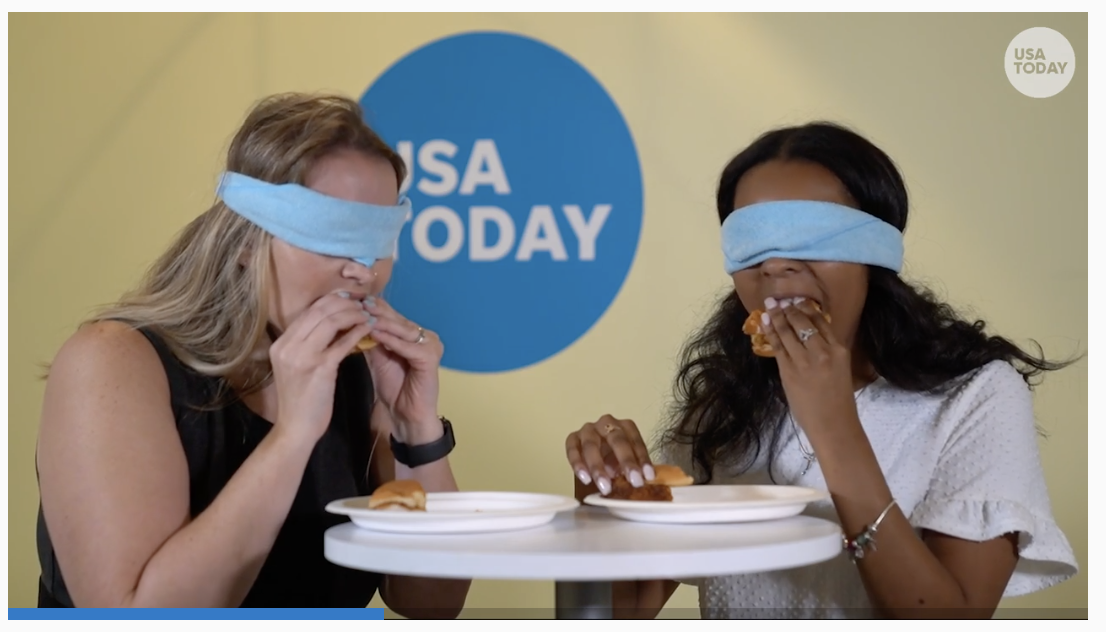 Scrrenshot from a video of USA Today's chicken sandwich taste test