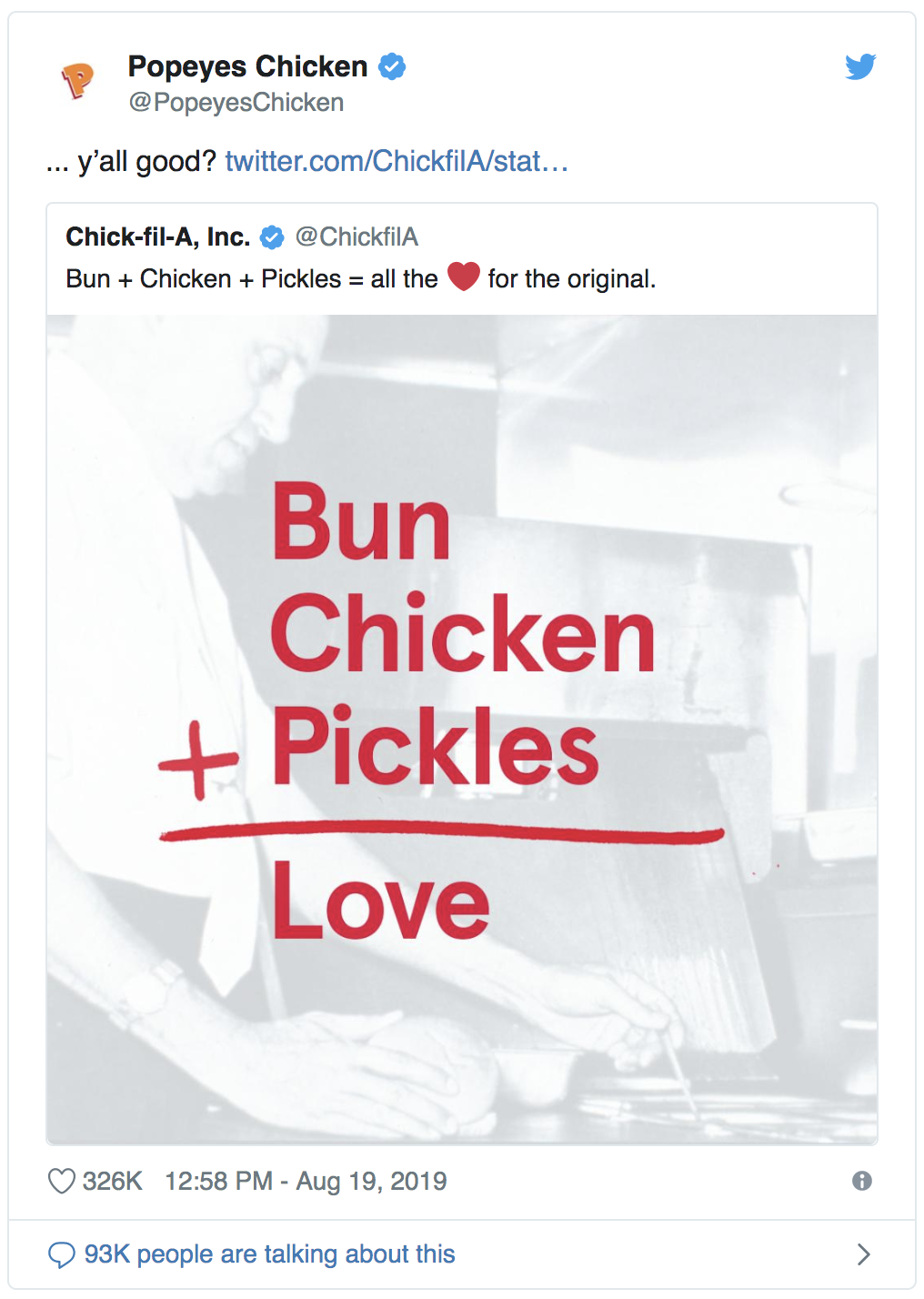 The Popeyes and Chick-fil-A tweets that started the Twitter chicken war