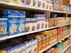 cereal aisle in grocery store