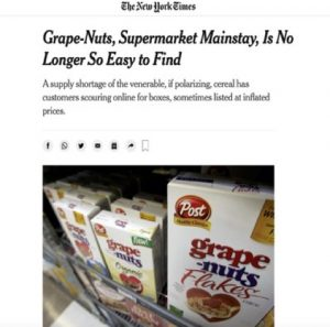 New York Times article picturing Grape Nuts cereal