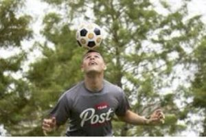 Soccer player with Post t-shirt