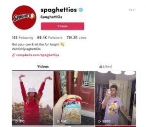 SpaghettiOs TikTok page